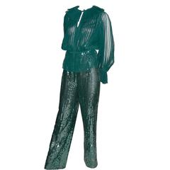 Oscar de la Renta Green Sequin Pants & Keyhole Poet Blouse Evening Outfit