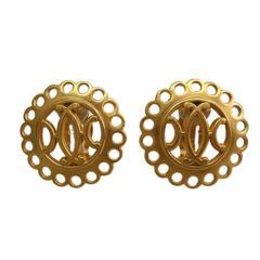 Hermes Gold Tone H Logo Round Earrings