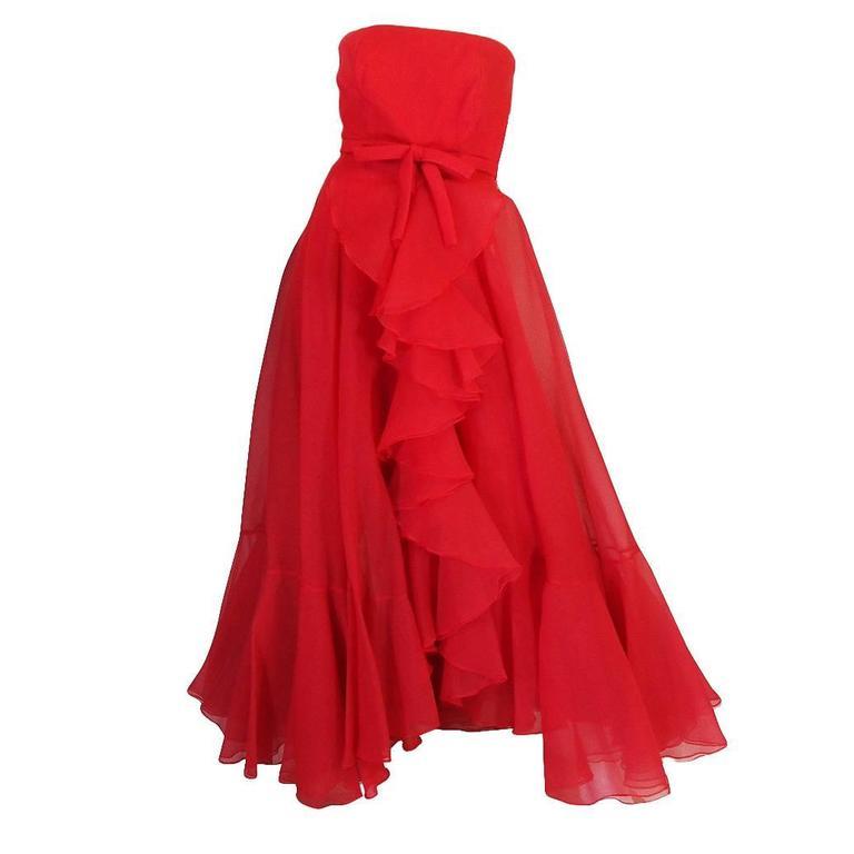 1960s Strapless Ruffled Silk Organza Sarmi Dress 1