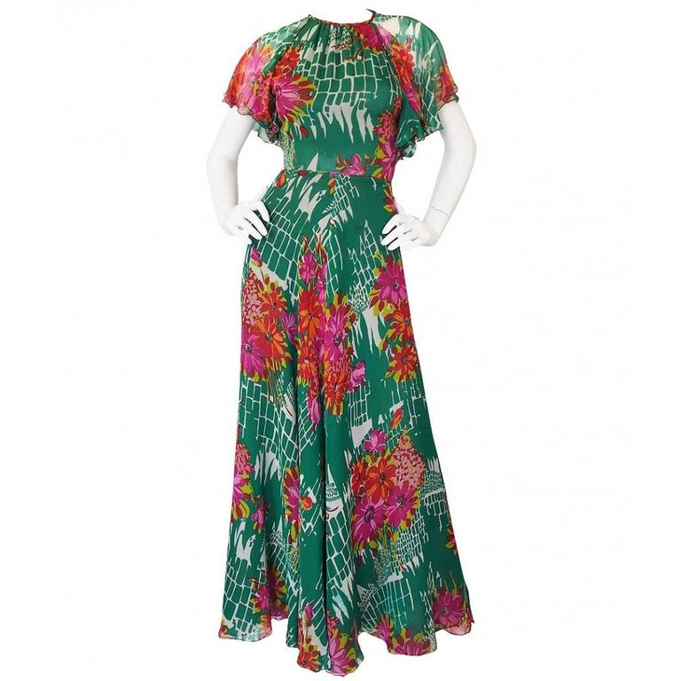 1973 Scott Barrie Pretty Floral Silk Chiffon Backless Dress