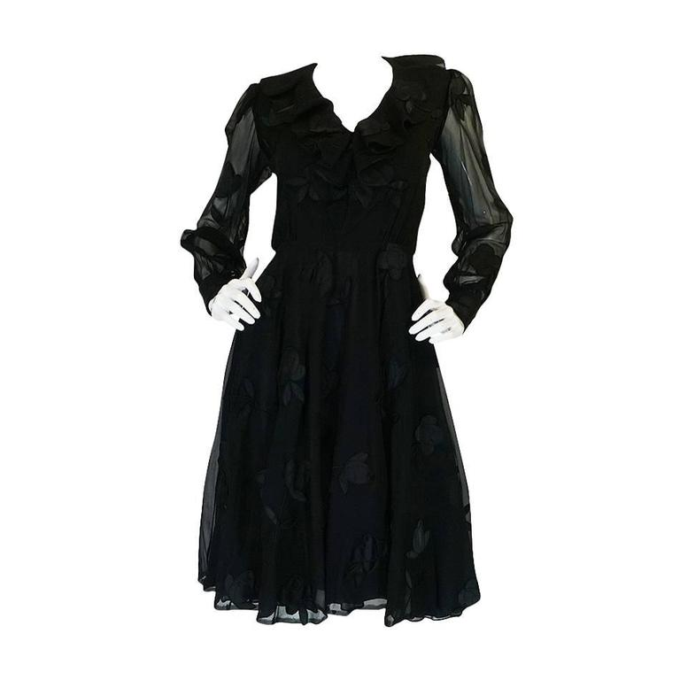 Late 1960s Silk Chiffon Applique Andre Laug Couture Dress