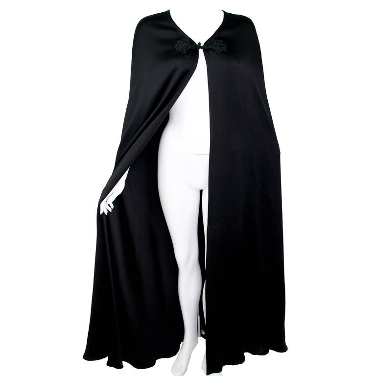Valentino Haute Couture Vintage Black Silk Satin Cape For Sale