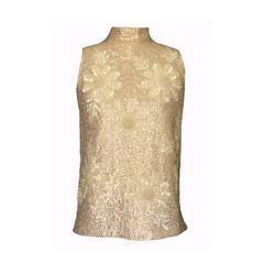 Valentina Ltd 1960s Heavily Beaded/Sequined Cream Mock Turtleneck Sweater Top