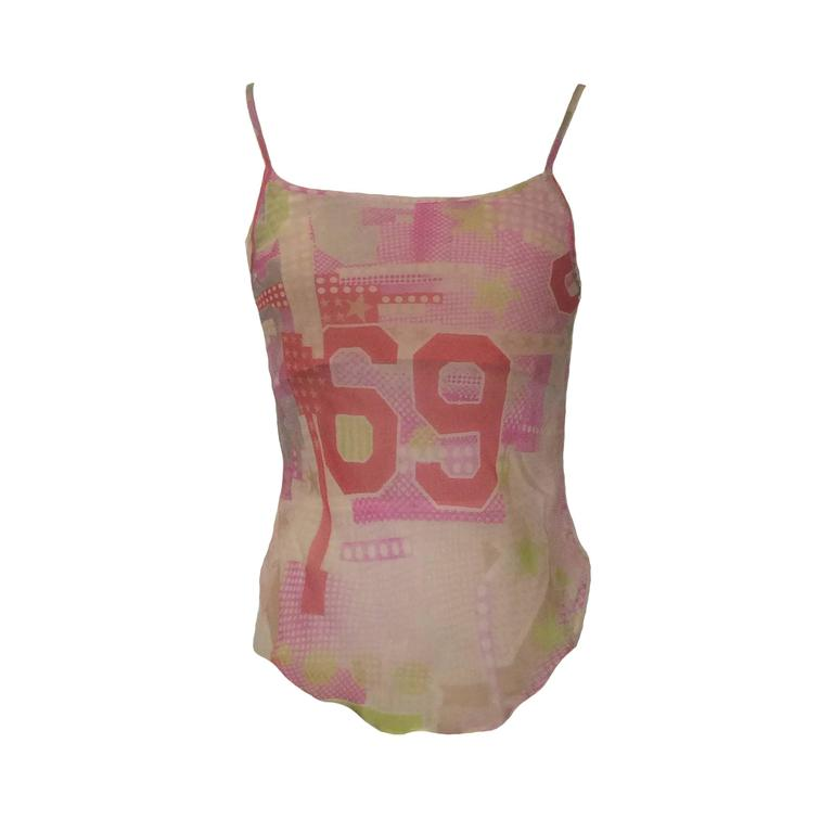 Alexander McQueen Spring 2004 Patchwork Print Pink Silk Tank 1
