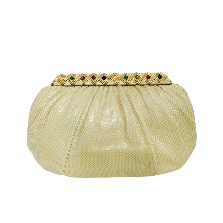 Vintage Judith Leiber Bejeweled Tan Lizard Convertible Clutch  For Sale