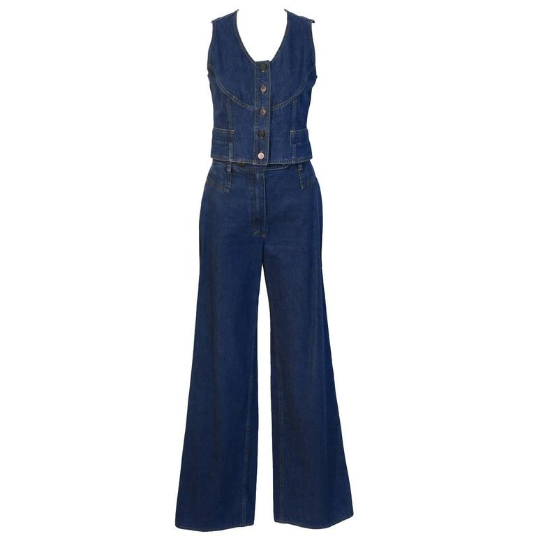 1990's Chanel Denim Vest and Pant Set