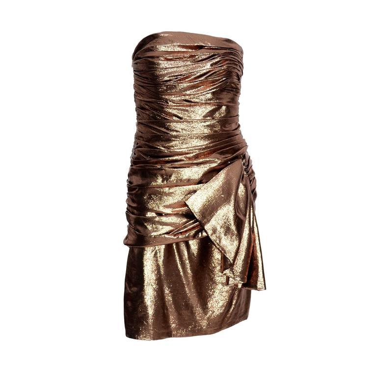 1980s Vicky Tiel Vintage Silk Lurex Metallic Bronze Strapless Dress Size 6 For Sale