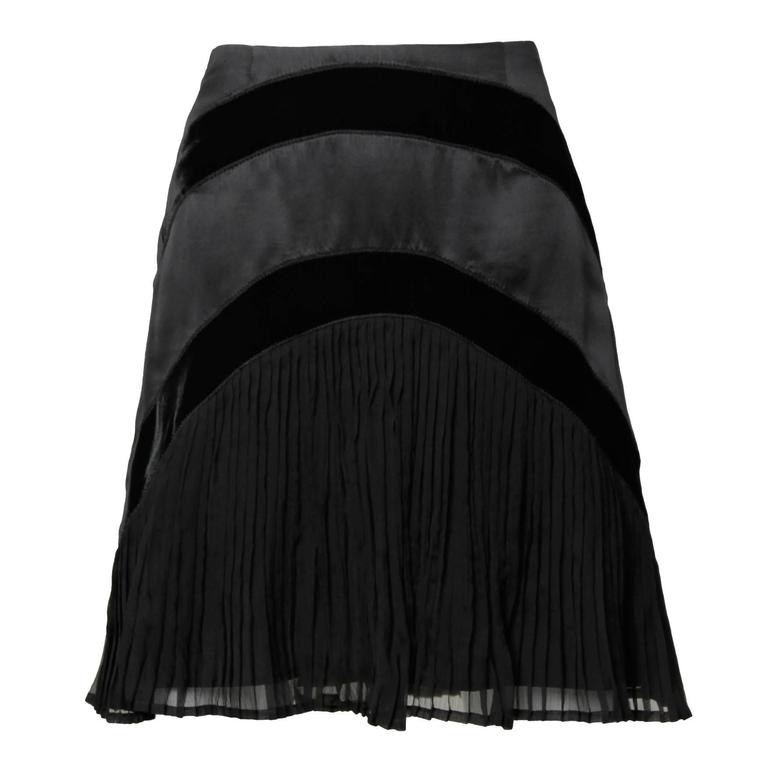03694d2ac9 Catherine Malandrino Vintage Black Silk Pleated Mini Skirt For Sale ...