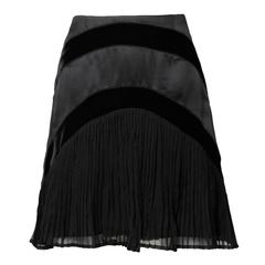 Catherine Malandrino Vintage Black Silk Pleated Mini Skirt