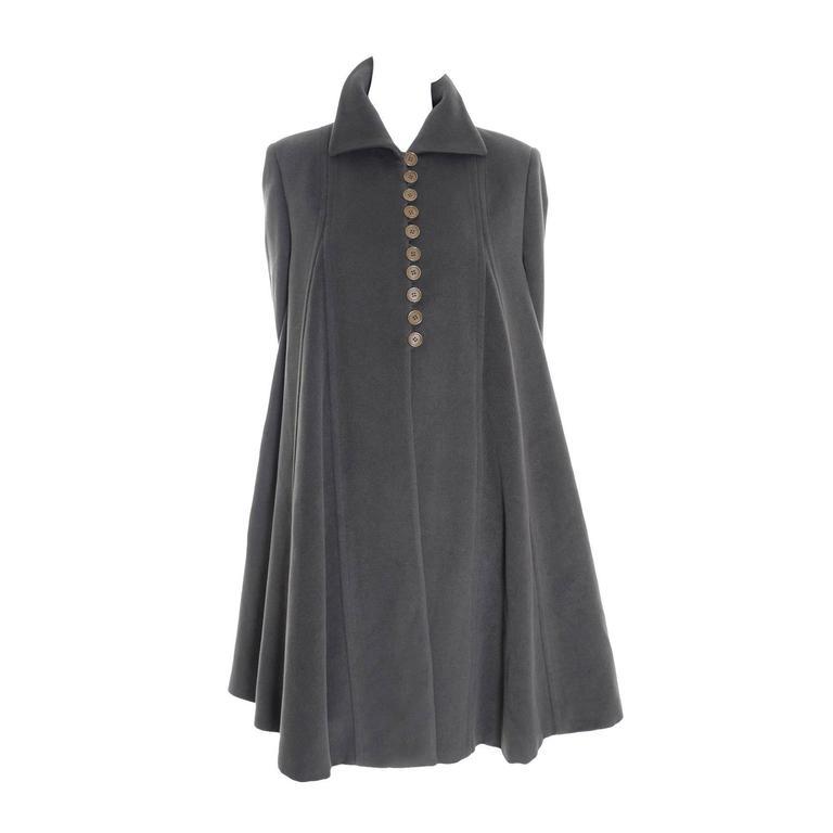 Giorgio Armani Vintage Swing Coat Gray Cashmere Wool Angora Vestimenta Spa For Sale