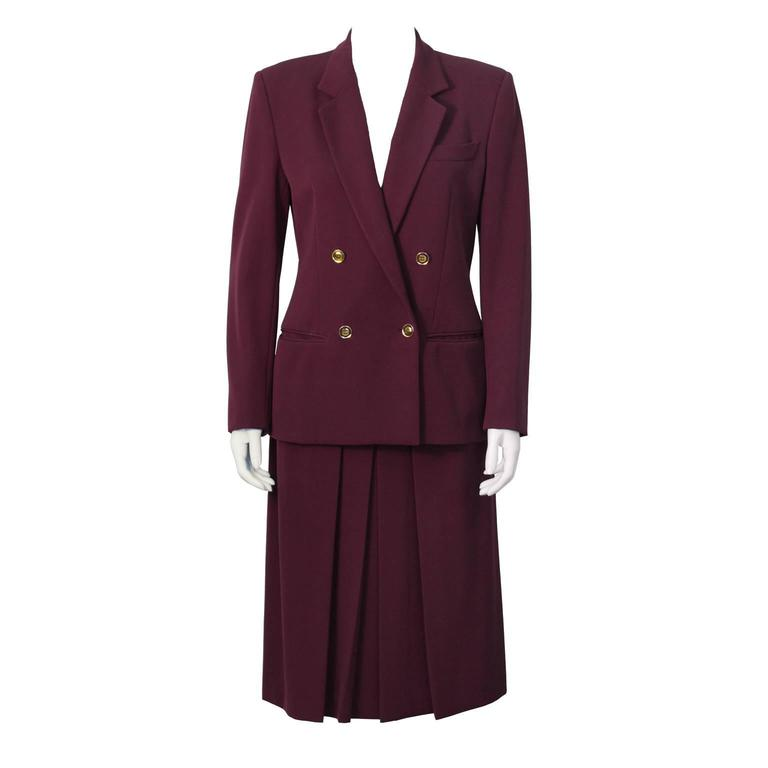 1970's Gucci Bordeau Gabardine Skirt Suit