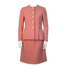 1960s Norell Red and White Gingham Skirt Suit