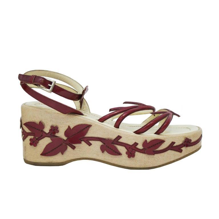 1997 Prada Red Leather Vine Leaf Platform Sandals  1
