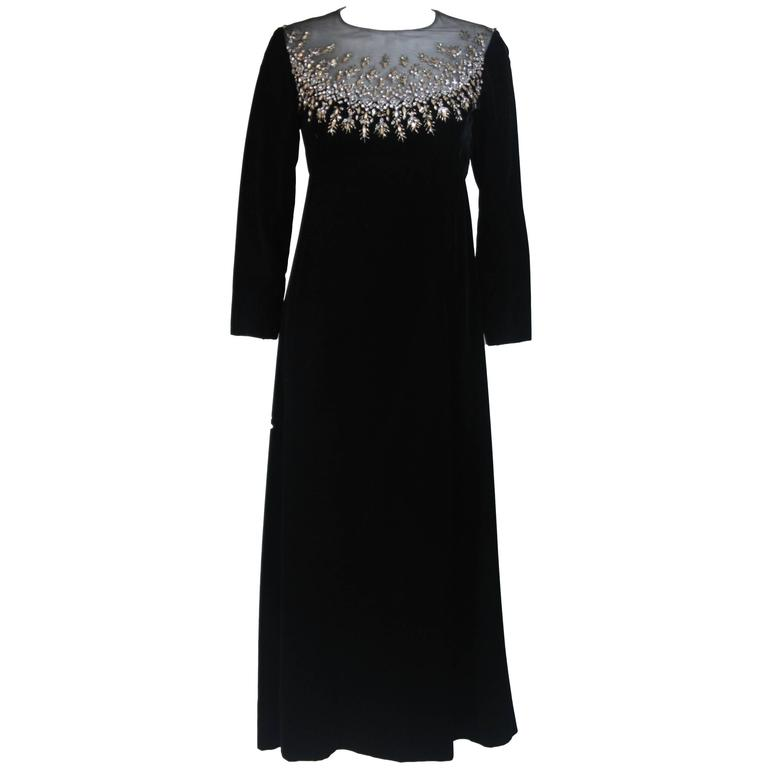 MALCOLM STARR Black Velvet Gown with Sheer Neckline & Rhinestone Applique Size 8
