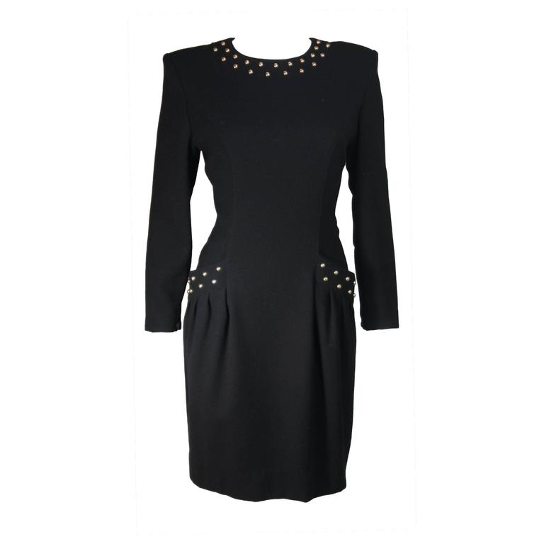 98fdb3bbd76 GUY LAROCHE Black Cocktail Dress with Stud Applique Size Large For Sale