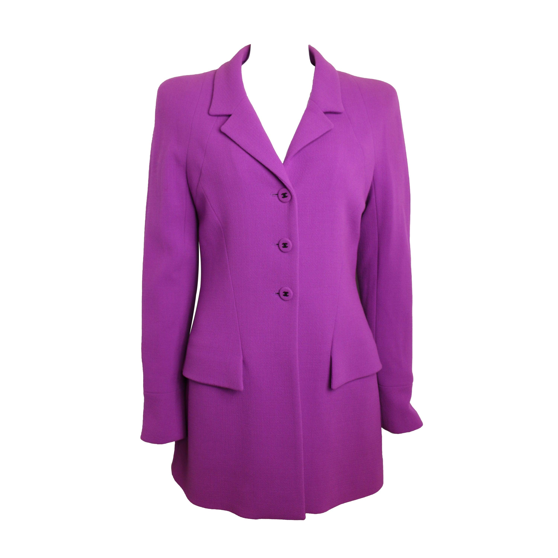 Unworn Fall 1997 Chanel Purple Boucle Wool Jacket