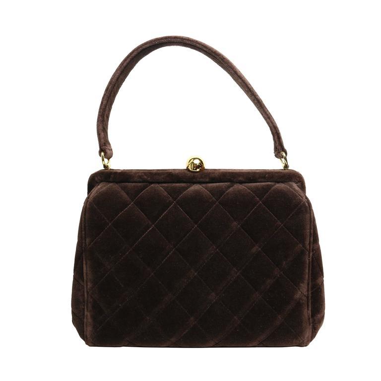 bf97464e9b64ca Chanel Brown Velvet Quilted Handbag For Sale at 1stdibs