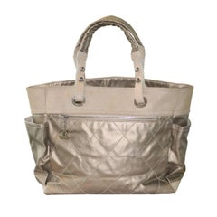 Chanel Gold Coated Canvas & Nylon Biarritz GM Tote No. 11 Handbag Purse