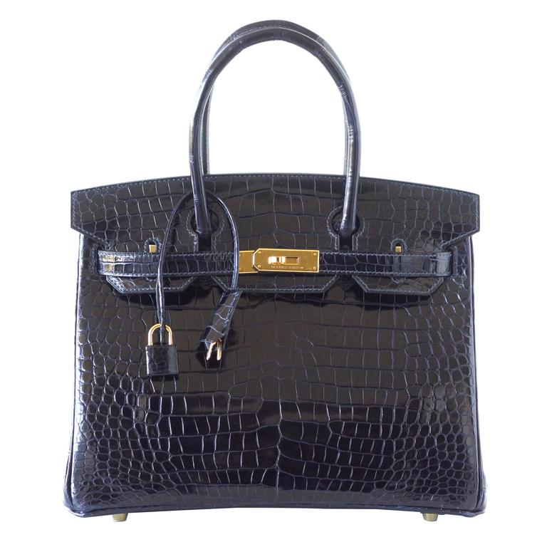 Hermes Birkin 30 Bag Blue Marine Porosus Crocodile Gold Hardware 1