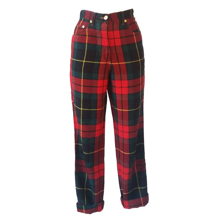 1980s Moschino iconic eighties jeans SeNeImporta (Who cares) tartan high waisted For Sale