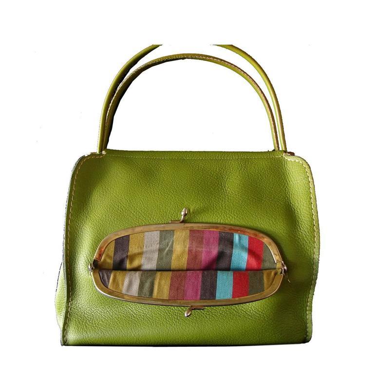 Bonnie Cashin for Coach Mod Lime Green Kiss Lock Tote Bag 1960s  1