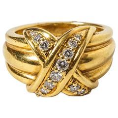 Tiffany & Co. Diamond Gold Signature X Kiss Ring