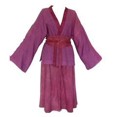 BONNIE CASHIN for SILLS Suede & Wool Japanese Kimono Skirt Belt Ensemble 1960s