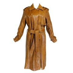 1990s Plein Sud Caramel Leather Trench Coat