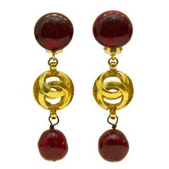 1980's Chanel Gold-tone and Poured Glass Drop Earrings
