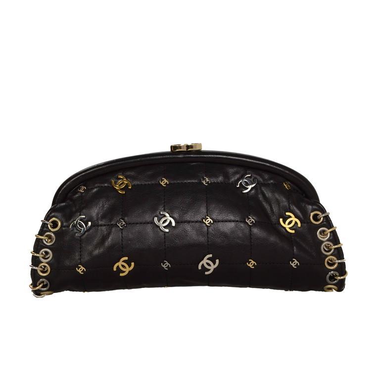 94c102da12f1 Chanel Black Lambskin CC Punk Timeless Clutch Bag For Sale at 1stdibs