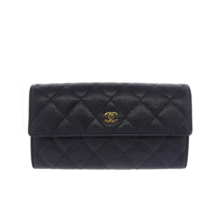 684bdd51834d98 Chanel Black Caviar GHW Snap Wallet in Box at 1stdibs