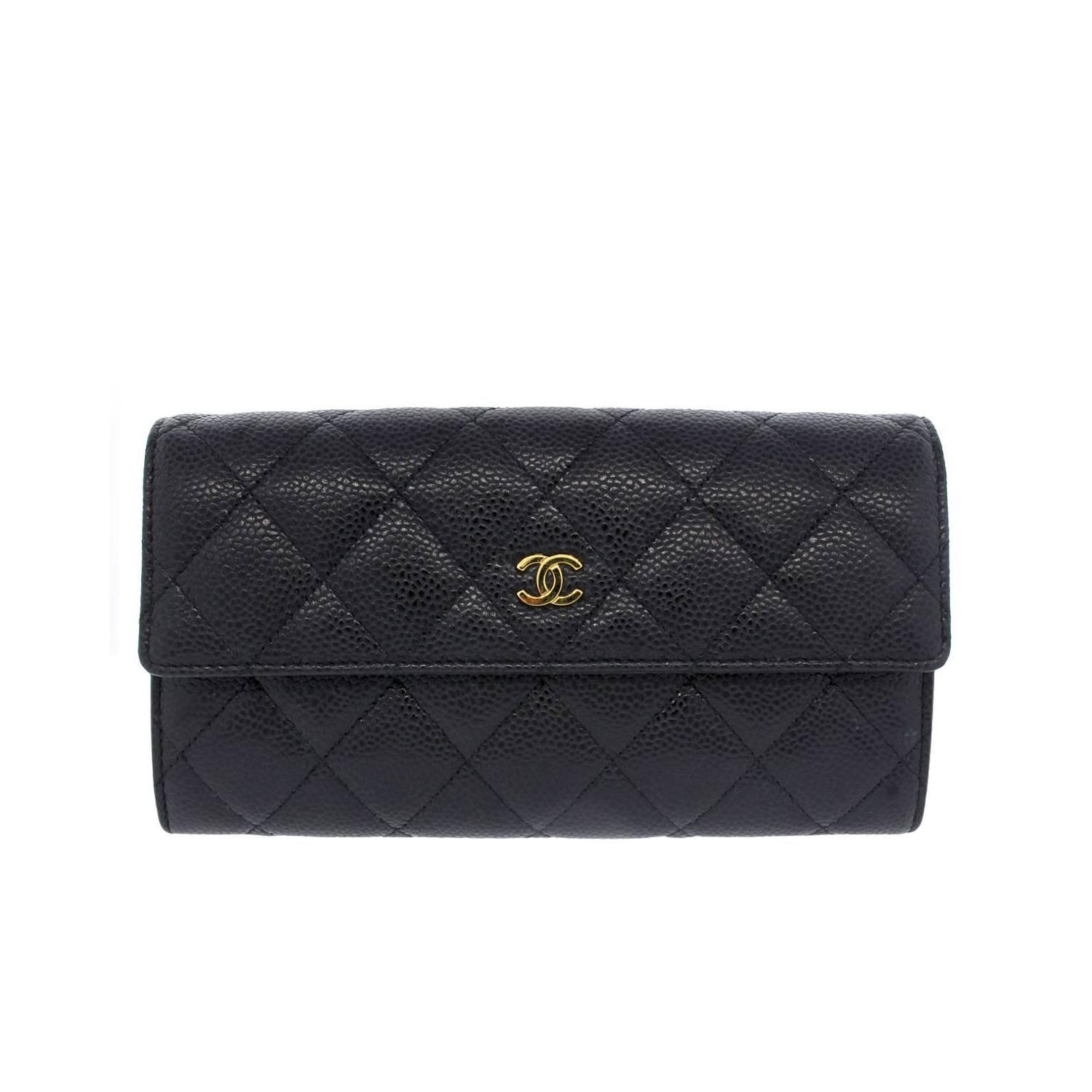 538ff42f5eafcf Chanel Black Caviar GHW Snap Wallet in Box at 1stdibs