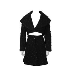 1980's Alaia Black Suede Jacket and Skirt Set