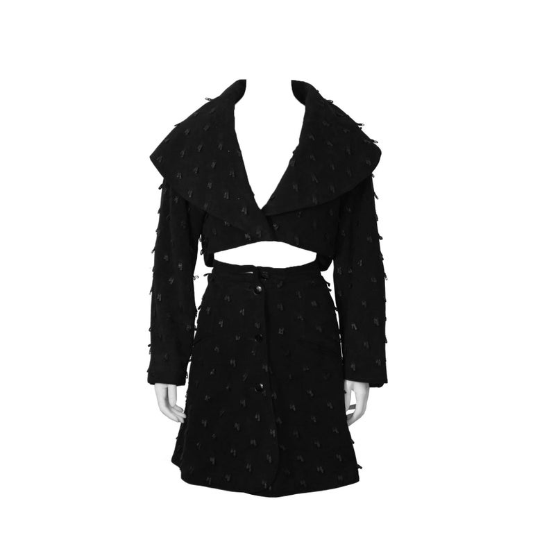 1980's Alaia Black Suede Jacket and Skirt Set For Sale