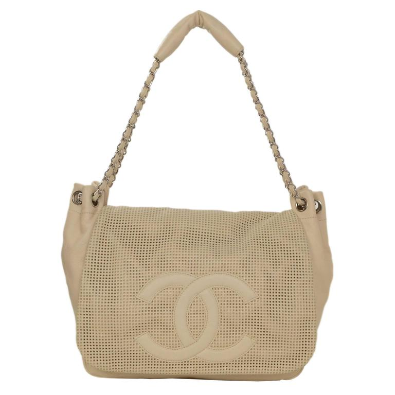 67fb9885d999 Chanel Cream Caviar Leather Perforated CC Accordian Flap Bag For Sale