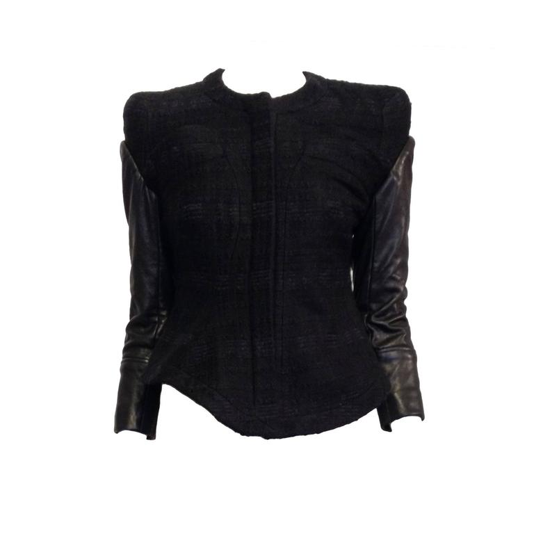 Givenchy Black Tweed Jacket with Leather Sleeves 1