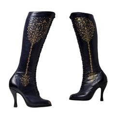 Anastasia. Leather full length lace-up boots hand tooled with 22 carat gold