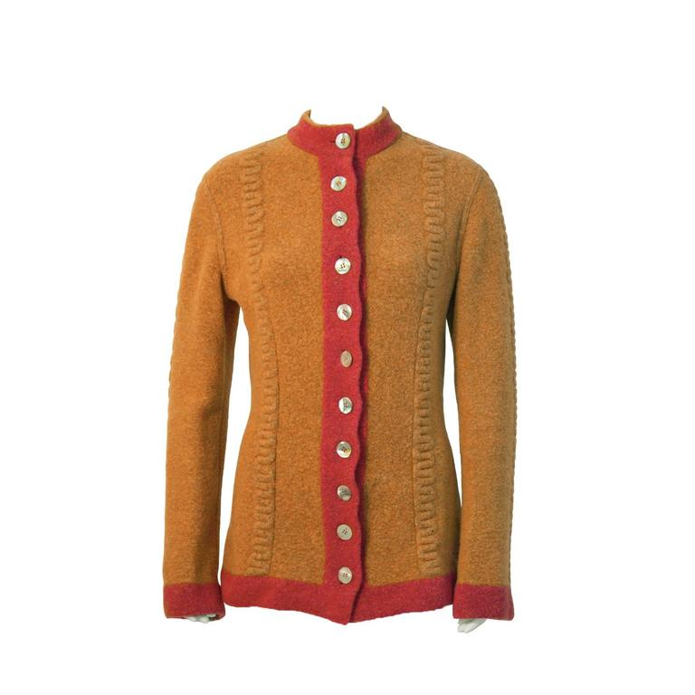 1990's Alaia Orange Boiled Wool Cardigan For Sale