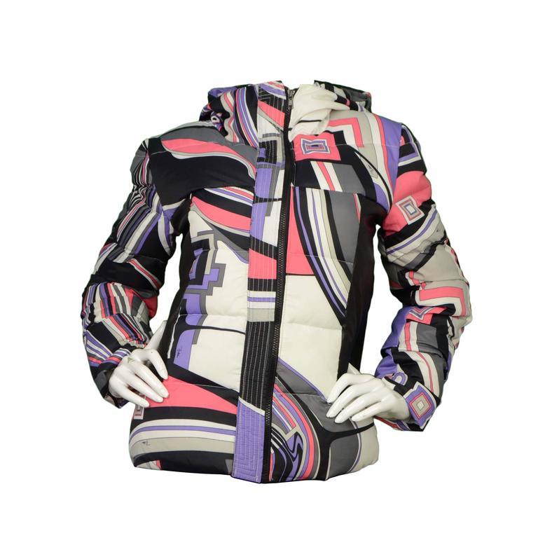 Emilio Pucci Multi-Colored Geometric Down Coat sz 38 For Sale
