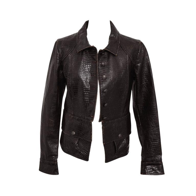 Chanel Rare Croc Embossed Vegan Leather Jacket As Seen On Runway 1