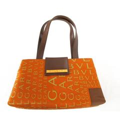 New 1990's Bvlgari Burnt Orange Logo Print Handbag