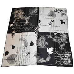 Emanuel Ungaro Black & White Multi-Writings Silk Scarf