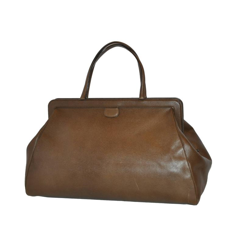 Valextra Large Textured Brown Calfskin Zippered Handbag