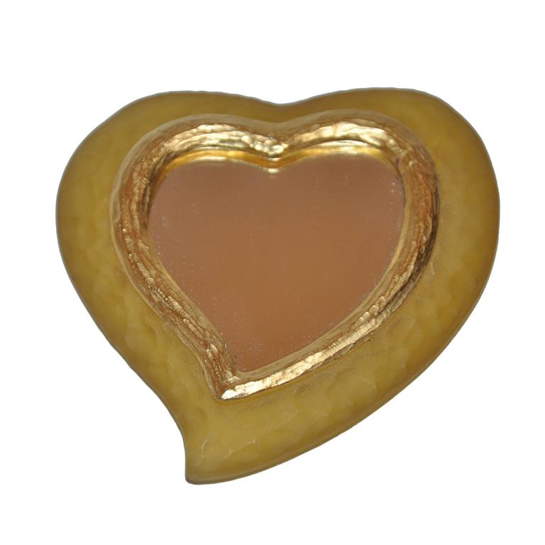 "Yves Saint Laurent Yellow Lucite with Gold Etched ""Heart"" Mirror"