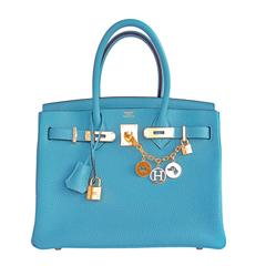 Hermes Blue Saint Cyr Birkin 30cm Bag Gold Hardware Robin Egg Blue