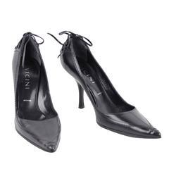 VICINI Italian Black Leather CLASSIC PUMPS Heels SHOES Lace Up Detail 38 1/2