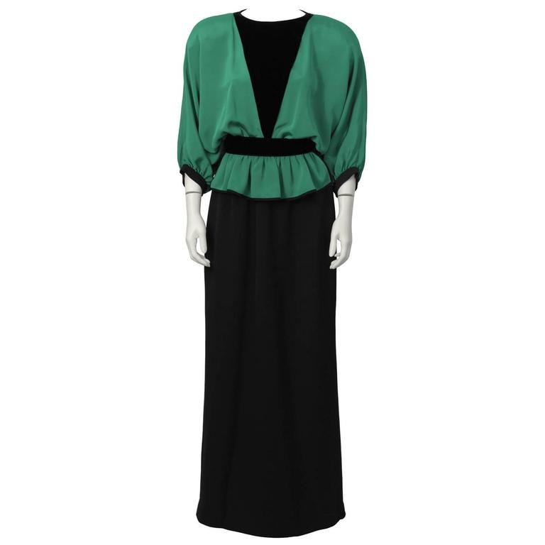 1990's Valentino Night Green and Black Gown
