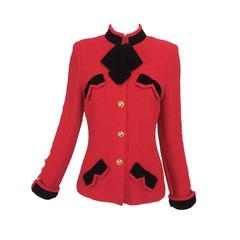 Adolfo red boucle jacket with black velvet trims 1970s