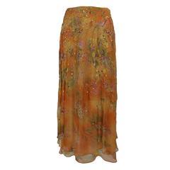 Oscar de la Renta layered chiffon print skirt with sequins