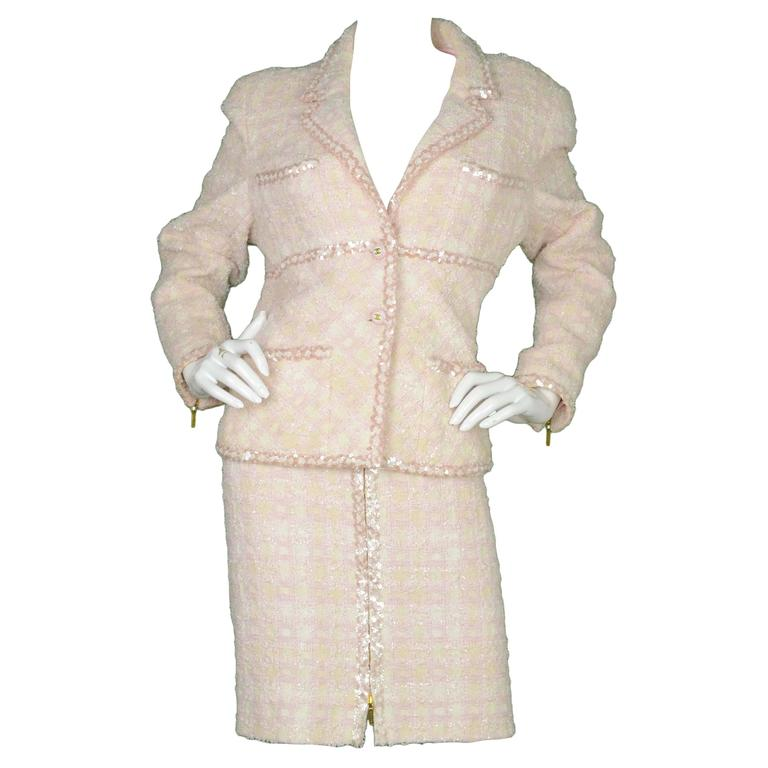 Chanel Claudia Schiffer Vintage '95 Beige & Pink Tweed Skirt Suit sz 46 1